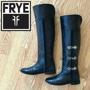 FRYE Paige Clovertab OTK Black Leather Boots 7